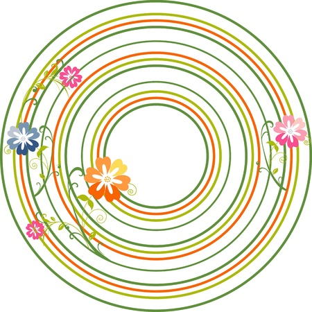 Colorful spring flowers on the circles,excellent seamless floral background,