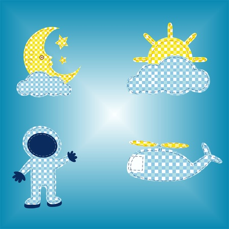 Children s background for the book, cloud and the sun on a blue background
