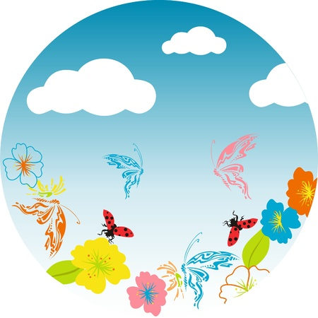 Cloudy sky the butterfly, colorful floral design on blue background,butterflies flying over flowers Stock Vector - 13517504