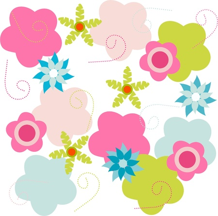 Colorful floral design on white background, floral greeting card Stock Vector - 13707757