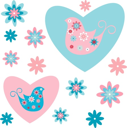 Colorful floral design on white background, flowers and birds in colored hearts Illustration