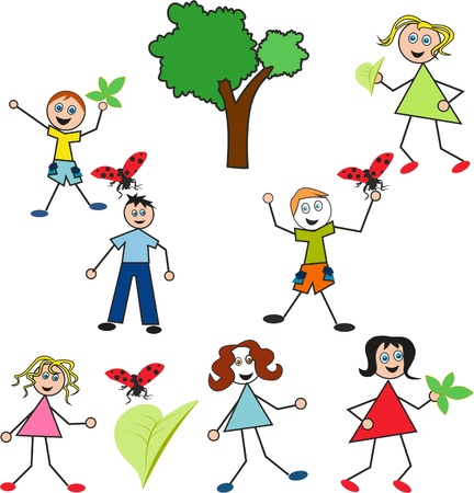 having fun: Children who love nature, Cartoon illustration of a doodle children having fun