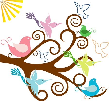 Tree branch with birds and leaves Illustration