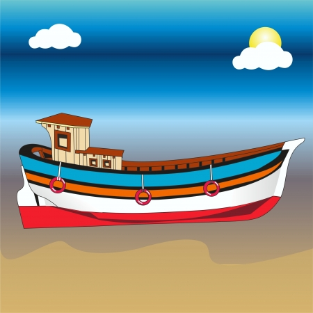 sea, sand and boats Vector
