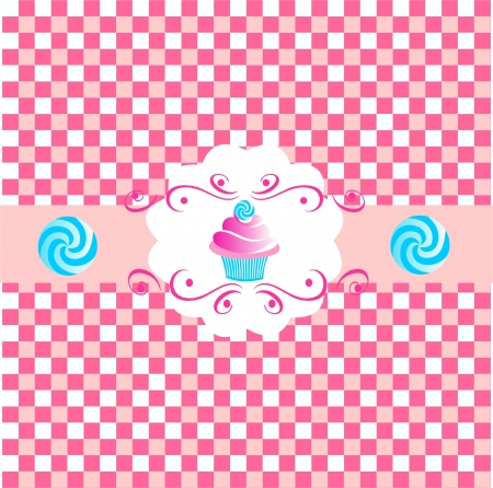 Pink cute cup cakes over pink background  vector Vector