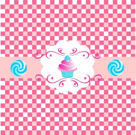 cup cakes: Rosa lindo cup cakes m�s de vector de fondo de color rosa