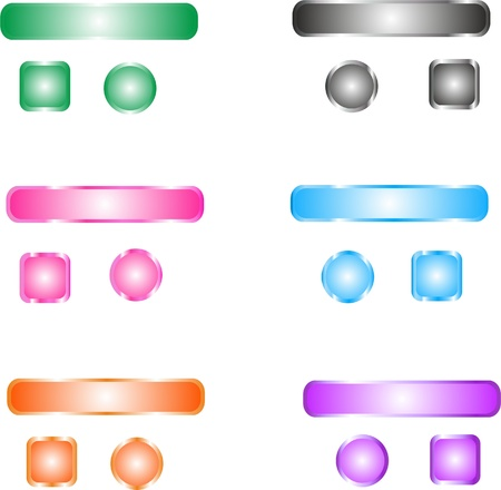 Blank web color buttons  Vector  Illustration