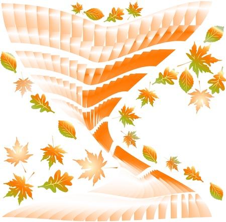 deteriorate: Fallen autumn leaves background.  Illustration