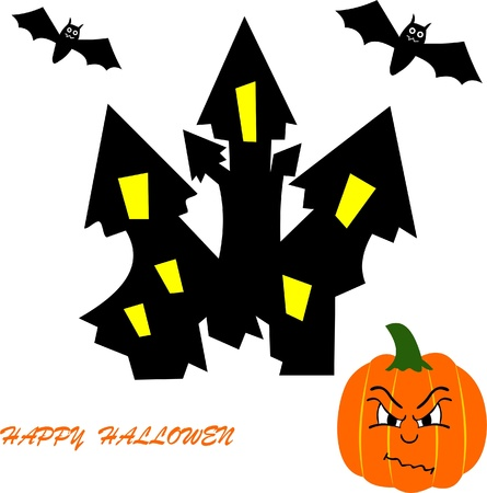 hallowen: Halloween pumpkin and haunted castle Illustration