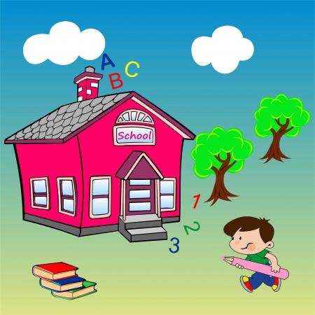 cartoon school girl: Los ni�os van a la escuela Vectores