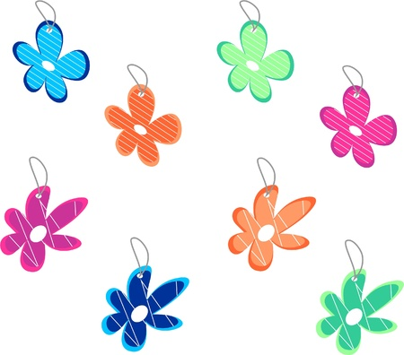 Collection of colorful tags in shape of flowers Illustration