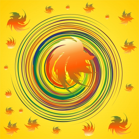 colored leaves flying around spiral Vector