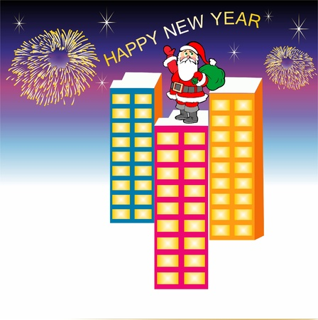 Santa Claus meets the new year,Christmas - New Year background with Santa image. Vector