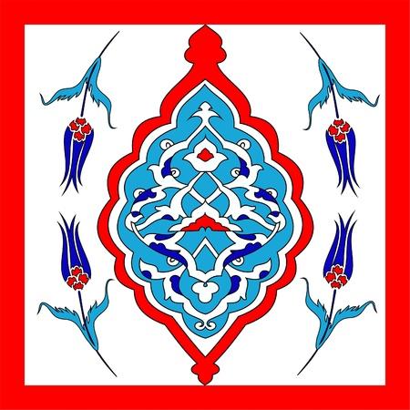 Traditional Oriental Art, of handmade Turkish tiles, Illustration
