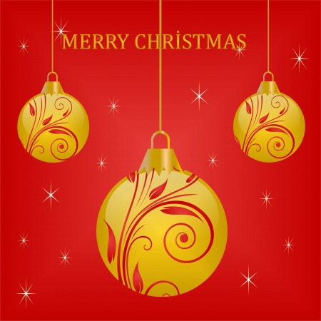 christmas motif: Red Christmas Balls on red background Illustration