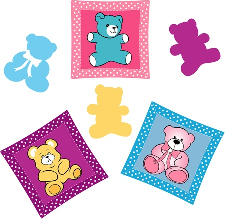 Baby shower card, teddy bears on the pillow baby rooms Vector