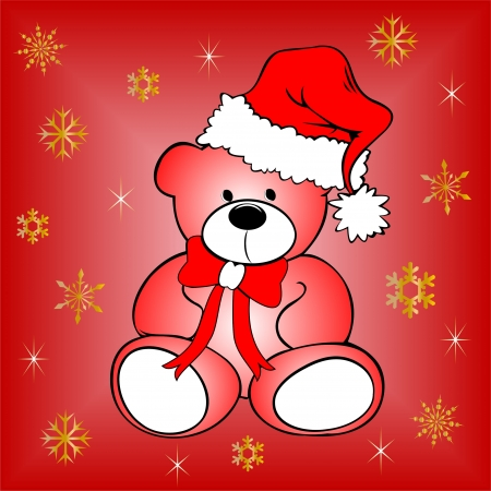 Christmas postcard with white teddy bear on snowy red background Vector