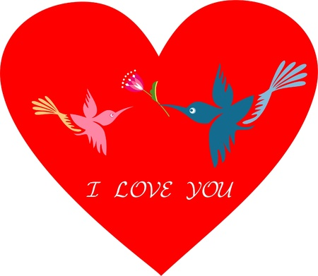 Romantic birds on red heart Stock Vector - 17354253