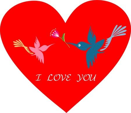 Romantic birds on red heart