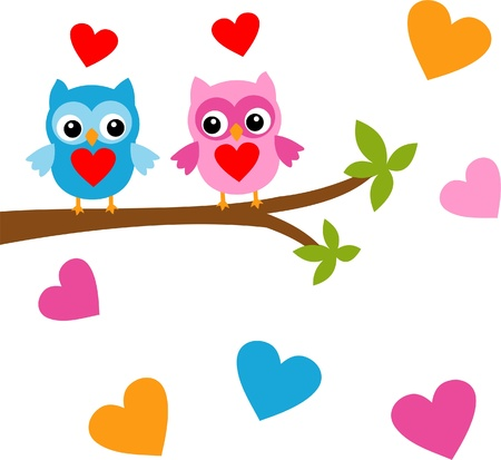 Birds in love on the tree Stock Vector - 17354252