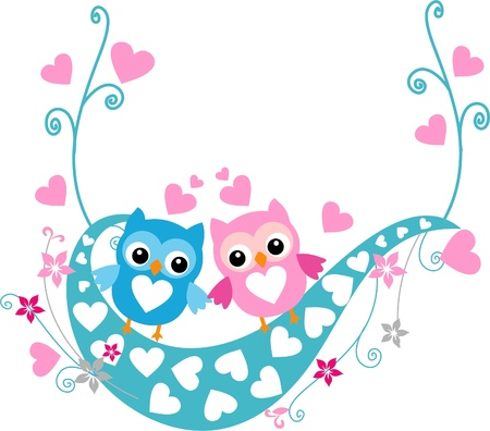 funny love: Birds in love on a swing Illustration