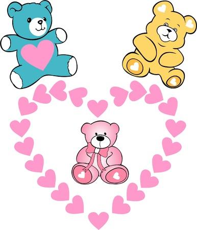 Baby shower greeting card ,Cute love bears Stock Vector - 17354266