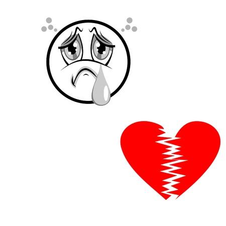 Sad face with a broken heart Illustration