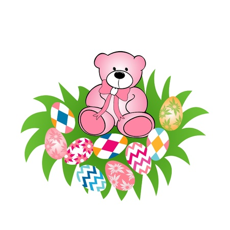 Illustration of cute teddy bear with Easter egg  Vector