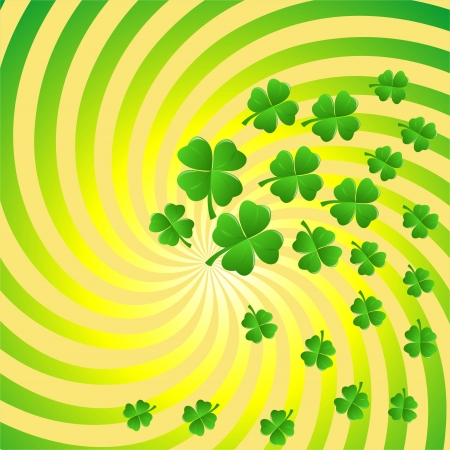 Green Background With Clover Vector