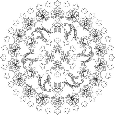 black and white mandala,floral pattern