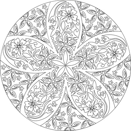 black and white mandala,floral pattern