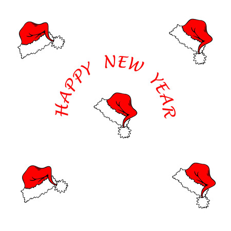 New Year greeting card Christmas hat Illustration