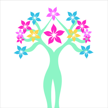 silhouette femme: flowering female figure on a white background