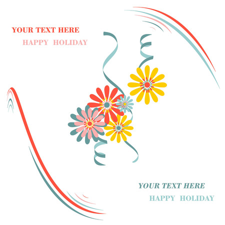 christmas greeting floral background, blooming new year card on a white background
