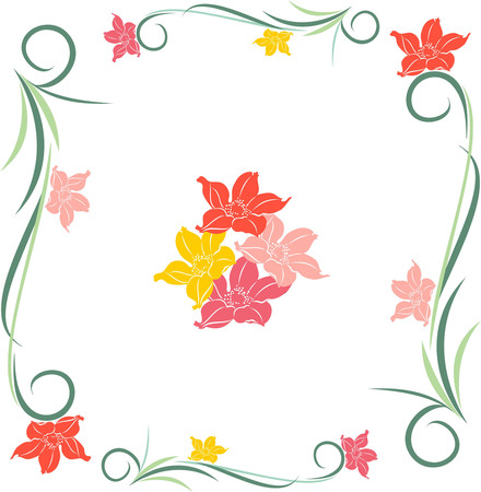 floral seamless pattern, flowers on a white background in the frame Ilustrace