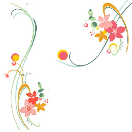floral pattern background, colored flowers on a white background Ilustrace