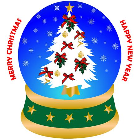 merry christmas and happy new year greeting card, Christmas decorated pine tree in the snow globe