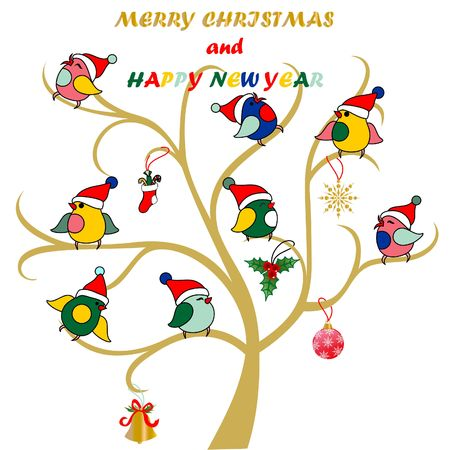 happy new year card, cute birds on the tree Christmas hat on a white background