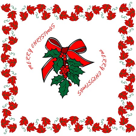 merry christmas and happy new year, Christmas ornament surrounded by red flowers,