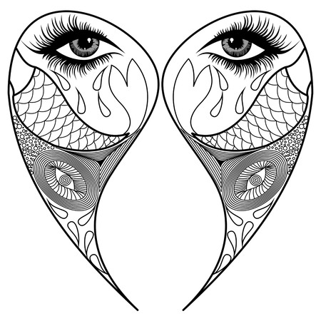 tear: black and white mandala, coloring pages, ornamental fabric design Illustration