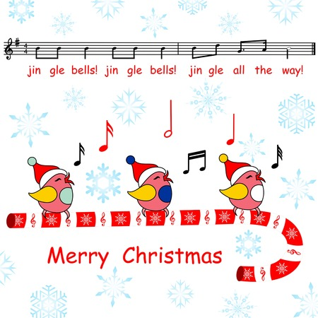 jingle bells: merry christmas card, said the jingle bells song birds, said the jingle bells song birds, note the new year with birds singing on a white background Illustration