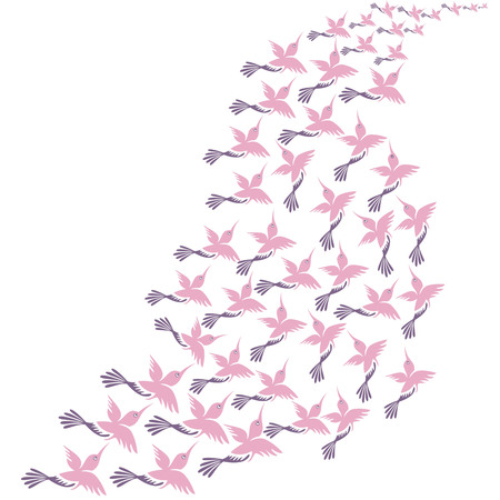 immigrant: dance of birds, migratory birds, The migration of birds dancing on a white background Illustration