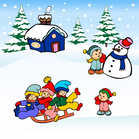 snow sled: winter christmas landscape, children sled sliding on the snow, and making snowmen, winter view card