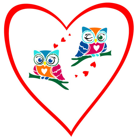 valentines day card ,, owls in love with red heart, Illustration