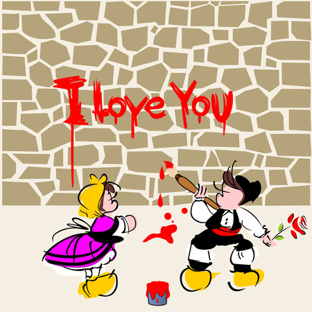 valentines day card, I love you dear ones by stone wall, Illustration