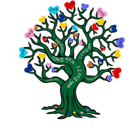 love tree: Valentines Day greeting card, love tree, words of love written on tree