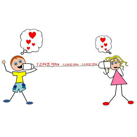 said: Valentines Day greeting card, the man said he loved with microphone Cartoon declaration of love Illustration
