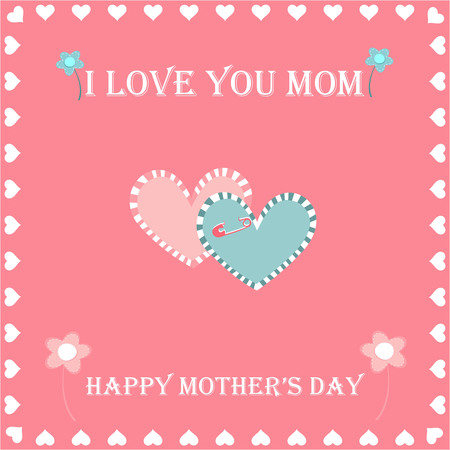 hearted: happy mothers day greeting card, greeting cards and flowers on pink background hearted Illustration