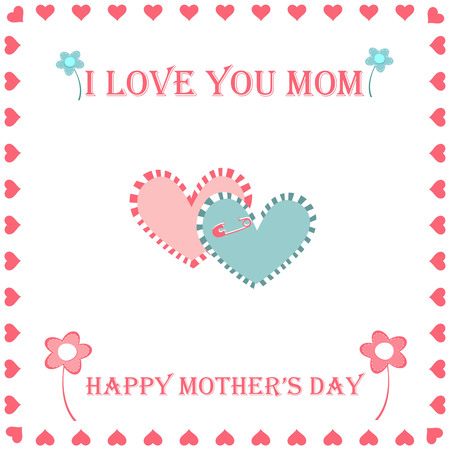 hearted: happy mothers day greeting card, greeting card hearted and flowers on a white background