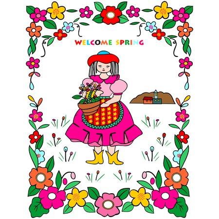 flower basket: welcome spring greeting card, flower basket on a white background cute girl meets spring Illustration